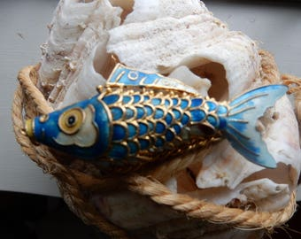 Vintage Reticulated and Enameled Fish Necklace Pendant