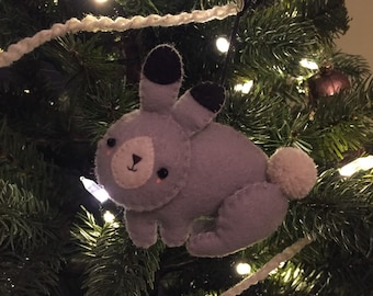 Felt Bunny Ornament, woodland creature, nursery, decoration, christmas, holidays