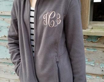 Monogrammed Fleece Jacket, Full Zip Womens Jacket, Christmas Gift for Her under 30 a6