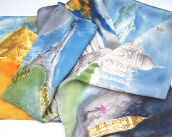 Hand Painted Silk Scarf CUSTOM ORDER Theme By Your Choice