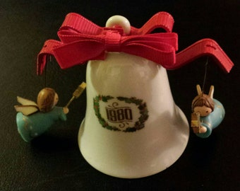 Vintage 1980 Swinging Angels Bell Christmas Ornament
