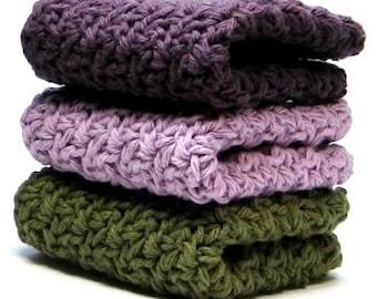 Vineyards Crochet Wash Cloths, Crocheted Cotton Dish Cloths