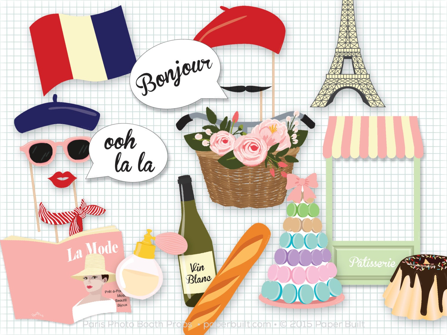 Paris Theme Party Photo Booth Props Photobooth Props Paris # Oohlala Muebles Y Accesorios Infantiles