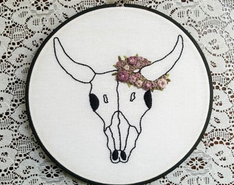Cow Skull with Flower Crown // Embroidery Hoop // Ready to Ship