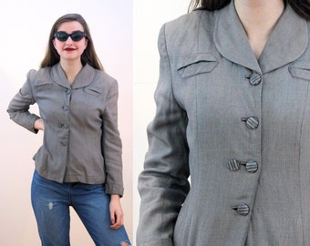 40s Gray Tweed Blazer S, Fit and Flare Bomb Girls Pinup WWII 1940s Jacket, Tailored Grey Flecked Gabardine Women's Suit Jacket, Small