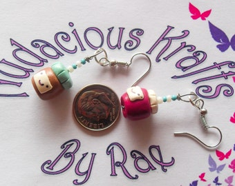 Peanut Butter and Jelly polymer clay fish hook earrings