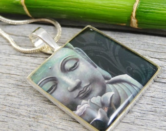 Buddha Necklace - Silver Plated Resin Square Pendant Necklace - Chain Included
