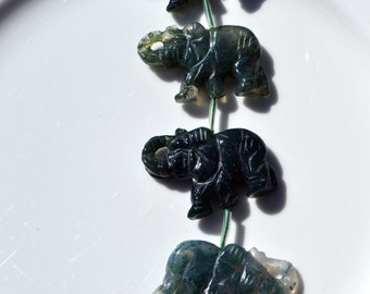 Hand Carved Moss Agate Elephant Pendant Bead ONE