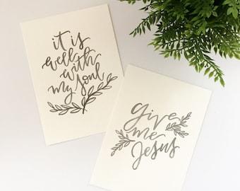 Hymn Lyrics Hand Lettered Prints | 5x7 Brush Lettered Prints | Original Prints