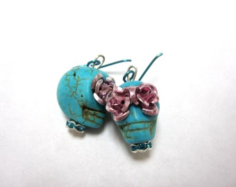 Day Of The Dead Earrings Sugar Skull Jewelry Turquoise Blue Pink Eyes