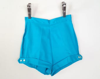Vintage 50s Pin Up Shorts / Blue 50s Shorts / 50s Short Shorts / Size XS