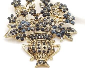 "Black Glass Rhinestone Brooch Large Grecian Urn Floral Bouquet Gold Costume 2 3/4"" x 2 3/4"" Iridescent"