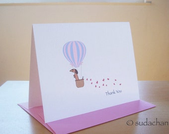 Dachshund in Hot Air Balloon Thank You Note Cards - Red.Brown Dachshund - Set of 10