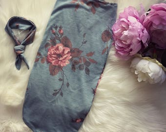 Swaddle Sack / baby swaddle / cocoon / baby cocoon / photo prop / swaddle / sleep sack / cocoon sack / new born photo prop  -Blue Floral