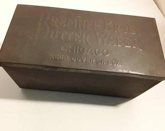 Vintage Bremner Bros. Butter Wafer Tin, Chicago, Vintage Advertising Tin, 1920s