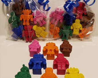 Crayon Robots...Great for Easter Baskets..Party Goodie Bags...Classroom Gifts..Coloring...Robot...Boys