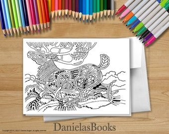 Coloring cards, Coloring Art Greeting Card, perfect gift for art lovers