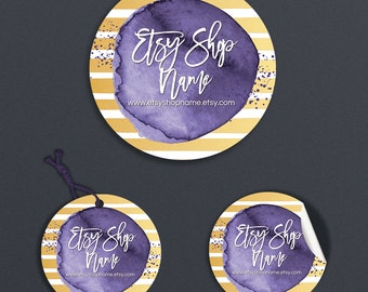 Printable Price Tags -  Product Labels - Printable Round Label or Hang Tag Design - Gold & Purple Label - Geometric 6-16