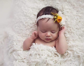 Newborn Floral Headband - Fall Headband - Warm Yellow and Neutral Tones - Photography Prop