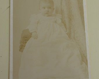 Antique Cabinet Card Baby in Gown CC407