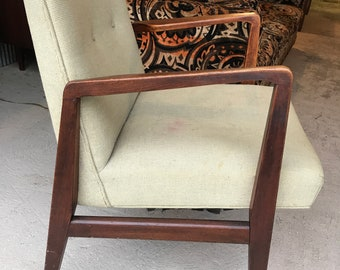 Jens Risom Walnut Lounge Chair Mid Century Modern