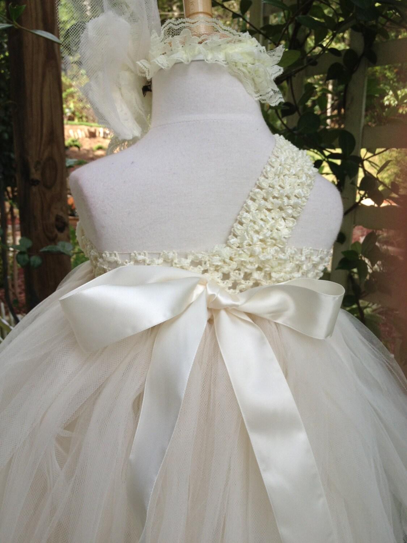 flower girl tutu dress, rustic flowers girl tutu, glitter tulle ...