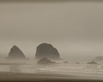 Oregon Coast photography Cannon Beach Fog photography print Fine art photography West Coast photo Ocean storm photo Northwest photography