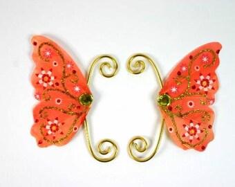 Orange Gold Fairy Earwings Ear Wings Earcuffs Fairy Wings Butterfly Wings Costume Wings Cosplay Earwings Orange Gold Earwings