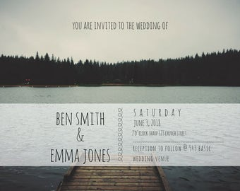 Rock Paper Smiles: Wedding on the Lake **THE EMMA**, Nature,Invite, RSVP, Info