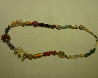 L64 Vintage Shell, Coral and Amethyst Necklace.