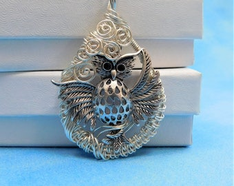 Owl Necklace Gift for Mom Mother's Day Ideas Unique Artisan Crafted Handmade Wire Art Jewelry Woven Pendant Artistic Handmade Wearable Art