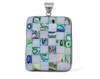 White Shell and Abalone Rectangle Pendant Silver-tone Without Chain