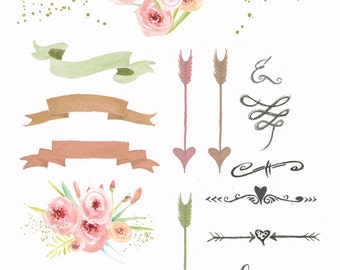 Pretty Pink Wedding Floral clipart, Digital Wreath, Floral Frames, Flowers, Arrows Clip art, invitations, planner stickers, planner girl