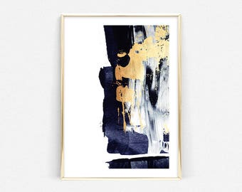 Abstract Art Blue Painting Printable Gold Art Prints Navy Art Digital Prints Digital Painting Blue Home Decor Dark Blue Art Wall Art : blue and gold wall art - www.pureclipart.com