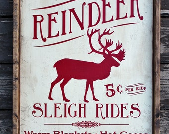 "16""x24"" **  Vintage Rustic wooden sign 'Reindeer Sleigh Ride' Christmas Holiday season sign"