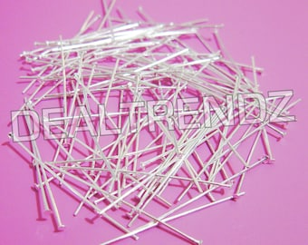 100 pcs --- 30mm x 0.5mm --- silver plated FLAT HEAD PINS jewelry supplies
