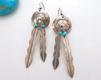 Turquoise Sterling Silver Earrings, Vintage Native American Jewelry, Turquoise Earrings, Silver Concho Feather Earring, Southwestern Jewelry