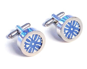 "One Year Anniversary Gift / 1st Anniversary Gift for Man / First Year Anniversary / ""London"" Japanese Paper Cufflinks for Him"