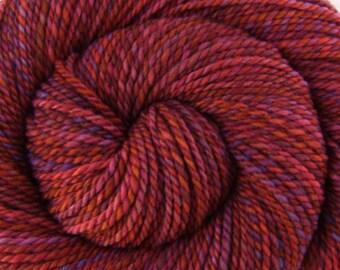 Handspun Yarn Bulky weight - OLD BARN DOOR - Hand dyed Organic Polwarth wool, 190 yards, gift for knitter, weft yarn, red yarn, hand spun