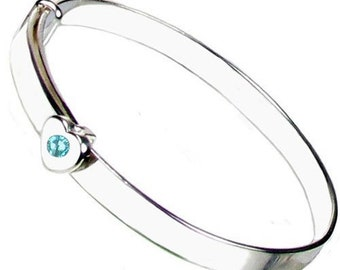 Personalised Sterling Silver March Birthstone Expanding Baby Bangle FREE engraving