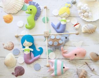 Mermaid Baby Mobile, Girl Baby Mobile, Ocean Mobile, Baby Mobile, Whale Mobile, Sea Creatures Baby Mobile, Mermaid Mobile