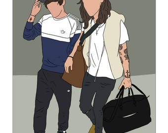 Back Home With You Sticker One Direction Harry Styles Louis Tomlinson Larry Stylinson Art Drawing Illustration Stationery Fan Art