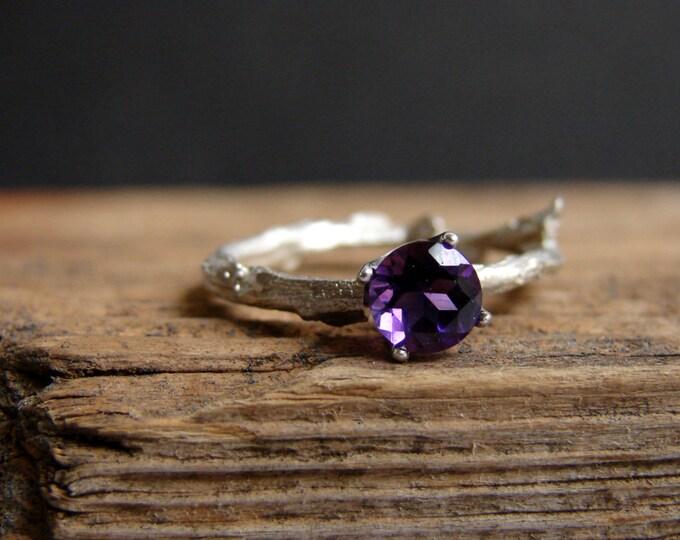 Amethyst Ring Gemstone  Purple  Gemstone Twig Ring Alternative Engagement Ring Sterling Silver Stacking Ring February Birthstone