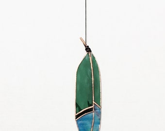 Stained Glass Feather Suncatcher Green Blue