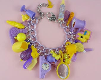 Purple and Yellow Chunky Charm Bracelet - loaded beads & repurposed mini plastic toys, kitsch cute Fairy-Kei Harajuku Decora pastel lilac