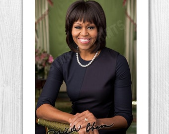 Michelle Obama Signed Autograph Reproduction Photo A4 Print Framed