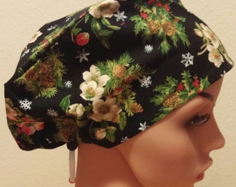 Women's Surgical Cap, Scrub Hat, Chemo Cap, Evergreens with Flowers