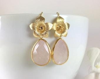 Rose Quartz Earrings Gold Flower Rose Quartz Dangle Drop Earrings Pink Gemstone Earrings Rose Quartz Jewelry Floral Earrings Bridesmaid Gift
