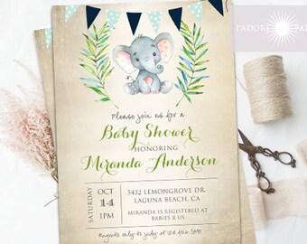 Baby Shower Invitation, Neutral Baby Shower Invite, Elephant Baby Shower Invite, Blue, Rustic Baby Shower, Watercolor, jadorepaperie