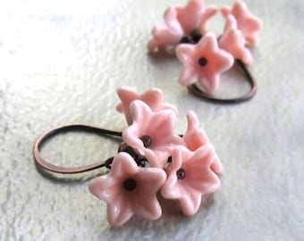 Cherry Blossom Earrings, Dainty Pink Flower Clusters, Antique Copper Handmade Earwires, Spring Floral Jewelry
